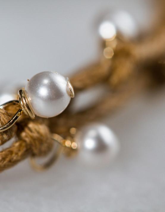 Bracelet G Wt Pearl 3 Strand Det 109-2